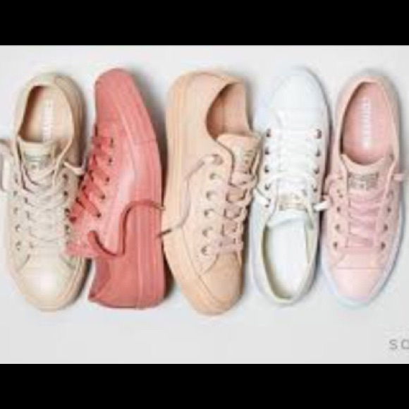 new concept catch amazing selection Nude, leather converse